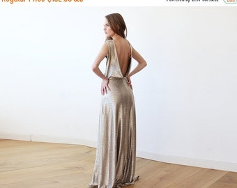 Gold Backless maxi sleeveless dress, Open back maxi gold gown