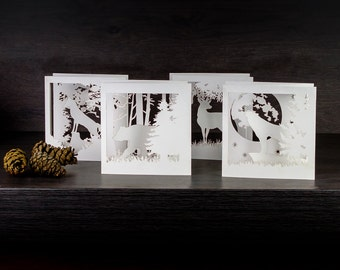 Special Price. Set of Four Woodland Greeting Cards. 3D Diorama Tri-folded, Laser Cut Art Paper.