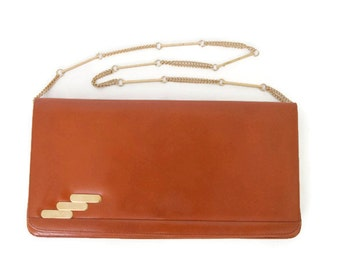 Vintage 70s Brown Leather Clutch