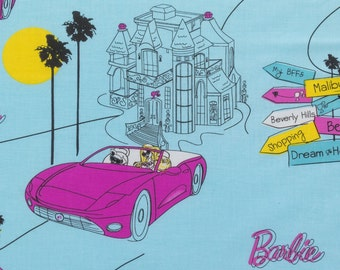 ℳ Malibu Barbie 100% cotton 45 Inches Wide Licensed by Mattel Inc FC12249