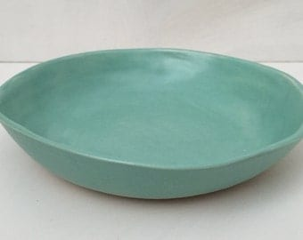 Satin seafoam shallow bowl