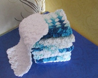 COTTON DISHCLOTH Blue 8 Pcs Variegated Blue and White  Plus One White FREE  2 Sets available