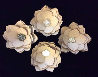 "2.5"" Mini Kraft Paper Flowers, Set of 4, Final Sale"