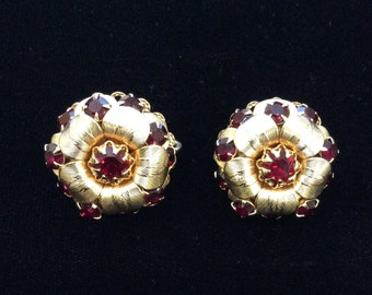 Ruby Red and Gold Vintage Earrings