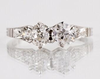 Antique Art Nouveau Platinum 1900s Diamond Engagement Ring