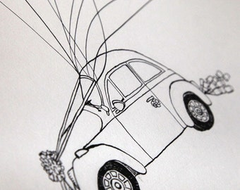 Custom Wedding Guest Book Just Married Wedding Car, Hand-Drawn Guestbook, Thumbprints & Signatures, Free Gift with Purchase
