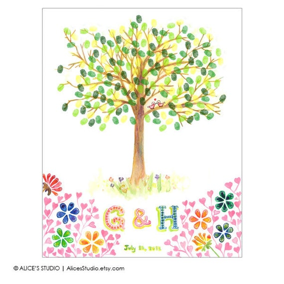 Wedding Guest Book Tree Personalized Wedding Print  - Love Birdies - 16x20 in - 70-100 Thumbprints and Signatures - Free Gift with Purchase