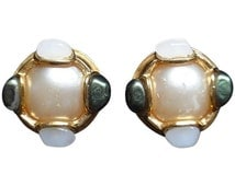 Vintage CHANEL gold tone earrings with a faux pearl, white and green faux stones.Gripoix. Great and rare Chanel vintage jewelry gift.