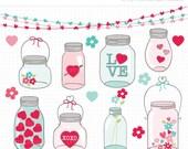 ON SALE - Valentine Masson Jars Clipart / Digital Clipart - Instant Download