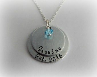 Grandma Est. Necklace - Custom Hand Stamped Necklace - Mother's Day - New Grandma Gift - Grandma Jewelry - Pregnancy Reveal