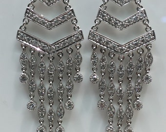 Diamond Chandelier Earrings in 18K White Gold