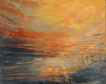 "Original oil and wax painting on 12"" x 12"" panel by Sarah Ettinger titled ""Sunset""."