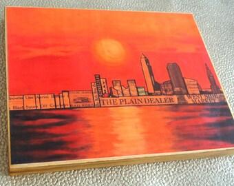CLEVELAND OHIO SUNSET Skyline - 8x10 Handmade Wood Print