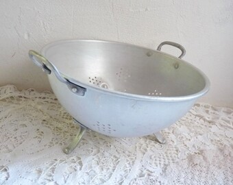 Vintage French ALUMINUM COLANDER. Footed Sieve with 2 Handles. The Holes are Star Shaped.