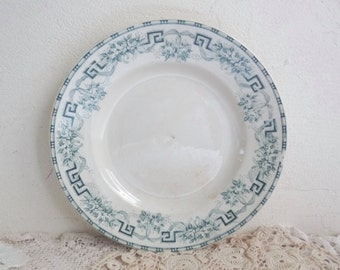1 Antique CERAMIC PLATE, Ivory White Dinner Plate with Blue Border. Art Deco, Stamped Nord, Moulin des Loups & Hamage. Pattern: Athènes.
