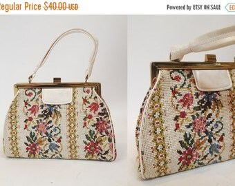 SHOP IS AWAY --- 1960s Cream Floral Needlepoint Purse