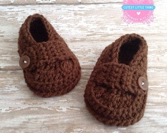 Baby Loafers, Crochet Loafers, Baby Boy Booties, Crochet Baby Shoes, Booties Baby Shoes, Brown Booties, Newborn Shoes