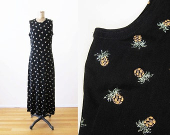 Pineapple Print Dress / Novelty Print Maxi Dress / 90s Clothing / Glitter Pineapple Fruit Long Black Dress