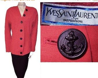 20% off Sale Vintage Yves Saint Laurent Jacket Nautical Buttons Made in France designer jacket red jacket nautical jacket 80s jacket vintage