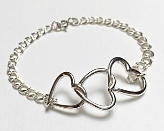 Sterling Silver 3 Heart Bracelet, Triple Heart bracelet, three hears bracelet