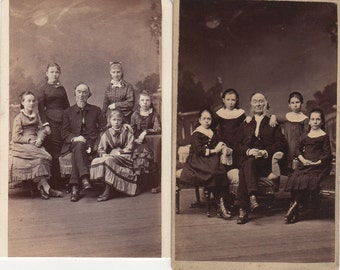 Interesting Pair of CDVs ~ Elderly Man Surrounded by Young Girls