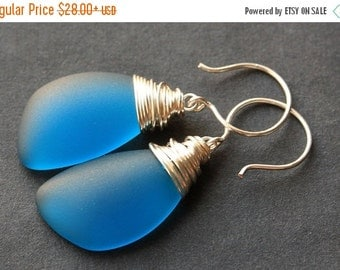 VALENTINE SALE Teal Seaglass Earrings. Teal Earrings. Teal Sea Glass Earrings. Wire Wrapped Wing Earrings. Handmade Jewelry.