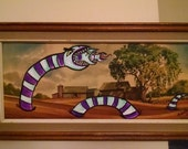 Sand Worm Farm Re-purposed Thrift Store Painting with Monster Upcycled