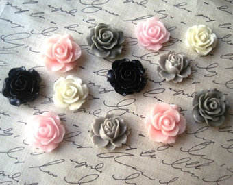 Resin Roses, 12 pcs Pink, Ivory, Gray and Navy Rose Cabochon Flowers, No Holes, Flat Backs, 18mm to 20mm