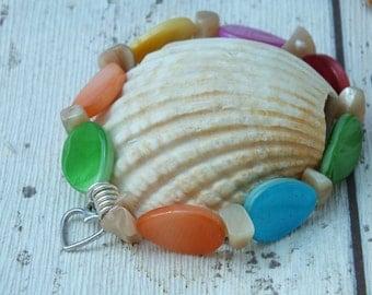 Shell Bracelet, Shell Jewelry, Boho Shell Bracelet, Gift for Her, Summer Jewellery, Pastel Jewellery, Birthday gift, Spring Fashion, Teen