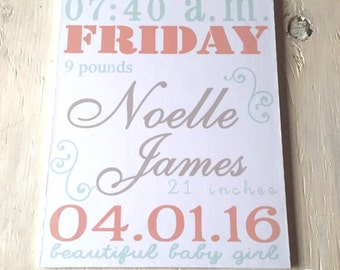 Custom Baby Girl Stats Sign - Baby Girl Nursery Sign - Girl's Room Decor - Baby Announcement Sign - Baby Shower Gift - Birth Stats