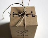 Wedding Favors Boxes, Wedding Date Monogram Box, Rustic Wedding Kraft favors box, Party Favors Box