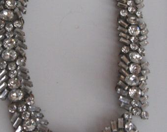 Vintage High fashion Hollywood necklace and bracelet set 1950s crytals