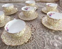 7 Antique Cauldon China Demitasse Cup Sets/Pattern 8885/ Tan leaves/Hand Painted Florals/ Tea Party/ Wedding Gift/Mother's Day Gift