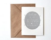 mini letterpress card, hand made, Will you be my Ring Bearer?, vintage, art deco, hand drawn, brown envelope,