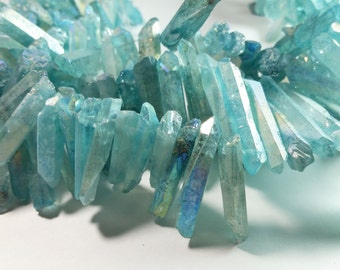 Seafoam Blue Mystic Titanium Coated Quartz  Point Nugget Dagger Beads 15mm - 40mm