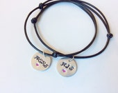 his and hers customized couples matchin bracelet metalstamped jewelry, name on bracelet