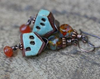 Rustic 'I and the Village' earrings n247- Marc Chagall . bohemian  house earrings . artisan ceramic house . boho jewelry . Carnelian stone