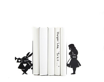Metal Bookends Alice and White Rabbit // Alice in Wonderland // Lewis Carroll // Kid's Room Decor // Nursery  // Free Shipping