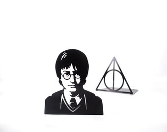 A pair of metal  bookends Harry Potter Deathly Hallows Inspired // modern book holders for Harry Potter books // FREE SHIPPING