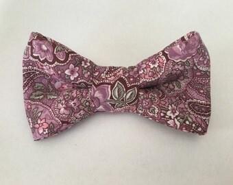 Purple paisley bowtie