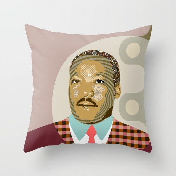 Martin Luther King Pillow, Black History Month, Civil Rights Black Nationalism Unity African American Gift, Human Rights Activism
