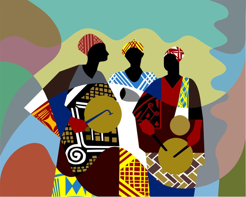 African Artwork African Drum Painting African Painting