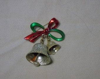 Vintage Gerry's Christmas bell pin red and green gold tone designer unusual