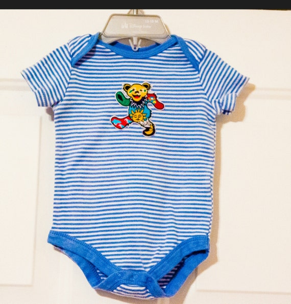 Grateful Dead dancing bear upcycled baby onesie