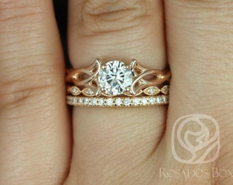 Rosados Box Orla 6mm, Ult Pt Leah, & Pernella 14kt Rose Gold Round F1- Moissanite and Diamonds Celtic Knot TRIO Wedding Set