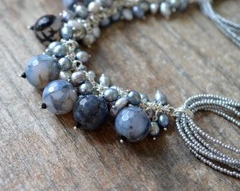 Chunky dangle necklace Big bold bead cluster necklace Cascade necklace Unique Dragons Vein agate Grey stone pearl bib necklace statement