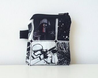 Star Wars Coin Pouch - Zippered - Small Star Wars Coin Purse - Credit Card Pouch - Black, Grey, White - New Star Wars Movie - Change Pouch