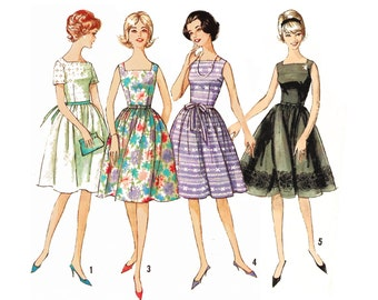 """1964 Square Neckline Bombshell Dress, Fitted Bodice, Bombshell Skirt, Sleeveless Option, Use for Lace or Sheers, Simplicity 5510, Bust 34"""""""""""