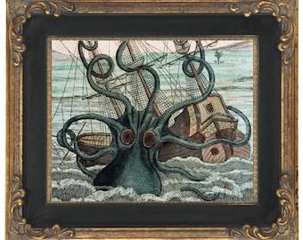 Kraken Octopus Art Print 8 x 10 - Victorian Nautical Oceanography Biology Sea Monster Attacks Ship Ocean Beach House Art