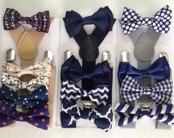 Navy Blue Bow Tie Suspenders Set Newborn Bowtie Adult Dark Blue Bow ties Boys Bowties Groomsmen Ring Bearer Outfit Wedding Christmas Bow tie